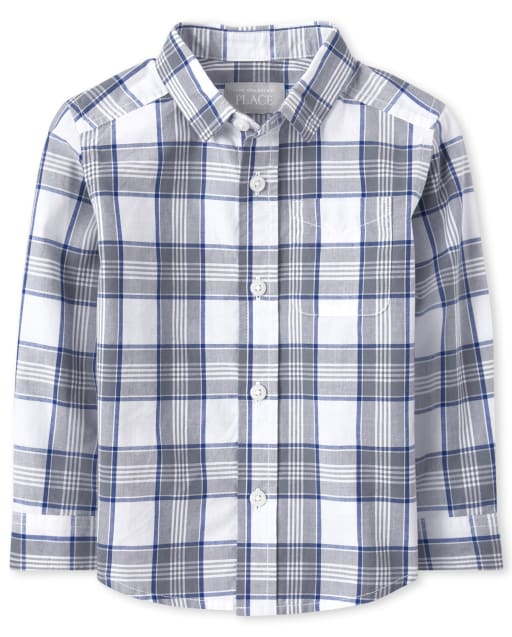 Baby And Toddler Boys Long Sleeve Plaid Poplin Matching Button Down Shirt