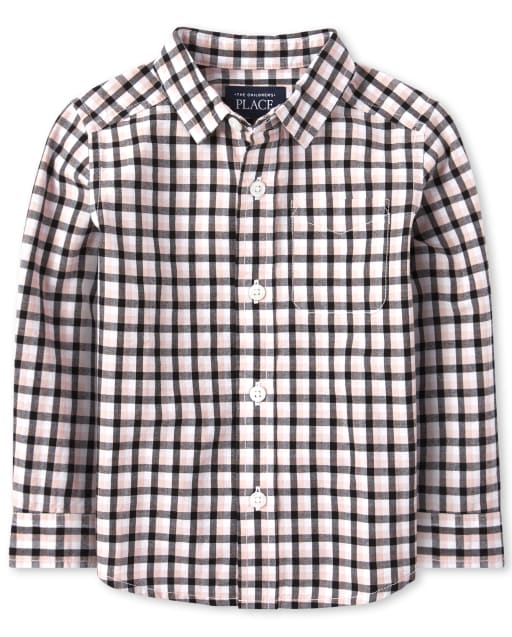 Baby And Toddler Boys Christmas Long Sleeve Plaid Poplin Matching Button Down Shirt