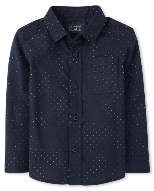 Baby And Toddler Boys Long Sleeve Dot Print Poplin Matching Button Down Shirt