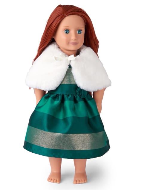 Conjunto de capa y vestido ajustado y acampanado a juego de jacquard de rayas metálicas sin mangas de Doll Christmas