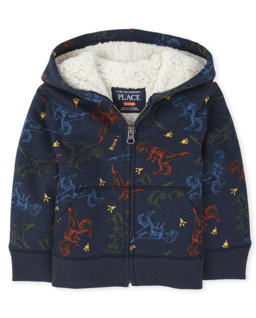 Baby And Toddler Boys Long Sleeve Dino Print Sherpa Lined Fleece Zip Up Hoodie