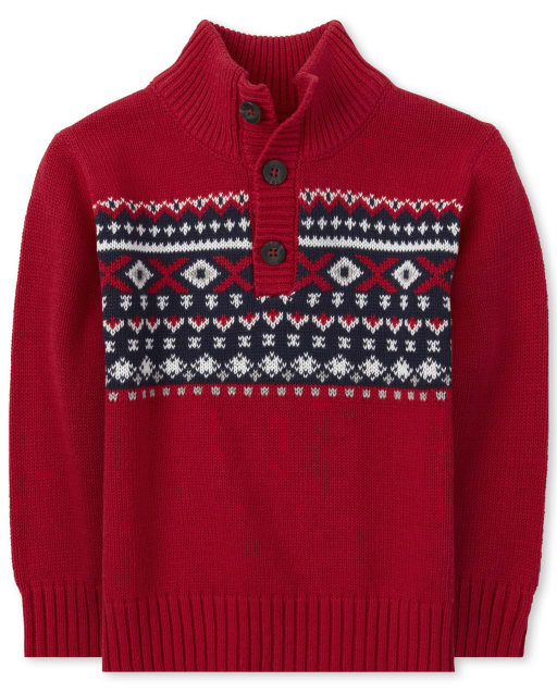 Suéter de cuello con botones de isla justa a juego de manga larga navideña para bebés y niños pequeños