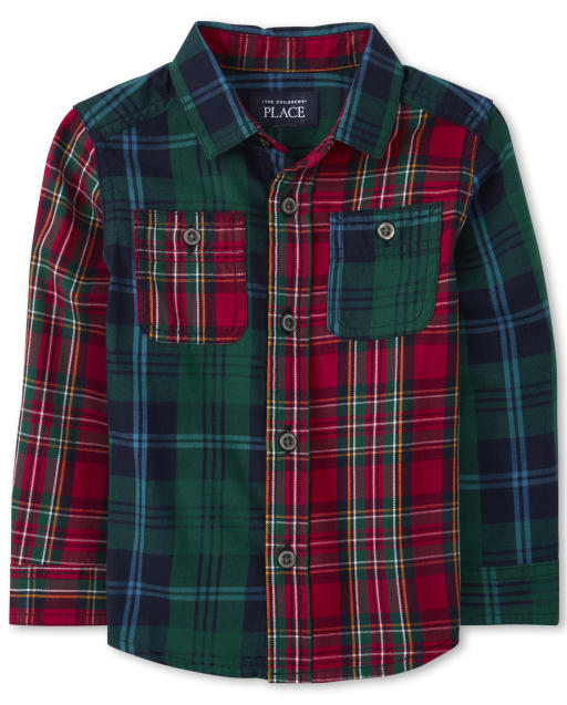 Toddler And Boys TINY COLLECTIONS Long Sleeve Mixed Plaid Twill Button Down Shirt - Very Merry