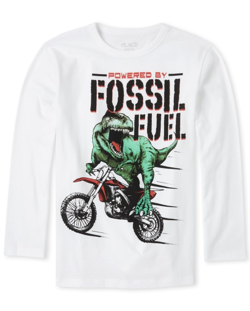 Boys Long Sleeve 'Powered By Fossil Fuel' Dino Graphic Tee
