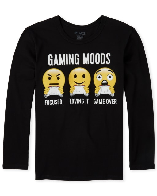 Boys Long Sleeve 'Gaming Moods Focused Loving It Game Over' Video Game Graphic Tee