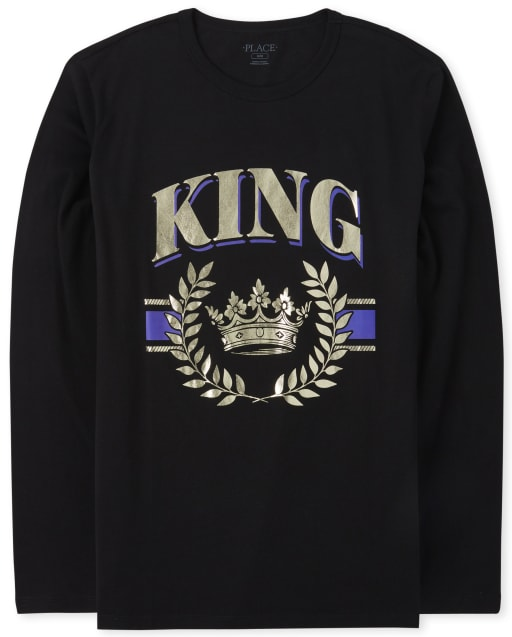 Mens Matching Family Long Sleeve 'King' Graphic Tee