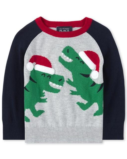 Toddler And Boys TINY COLLECTIONS Long Raglan Sleeve Santa Dino Graphic Sweater - Merry Rex-Mas
