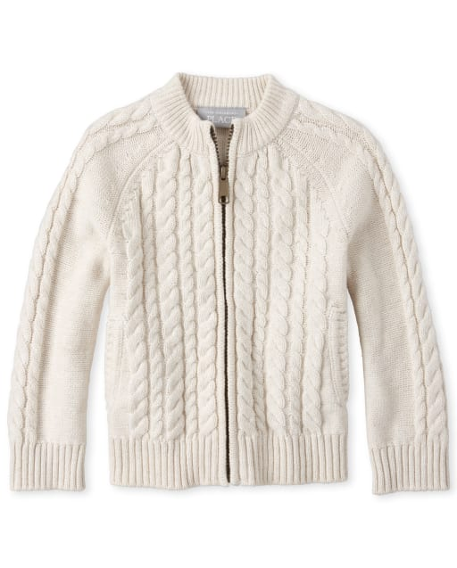 Toddler And Boys TINY COLLECTIONS Long Sleeve Cable Knit Zip Up Sweater - Very Merry