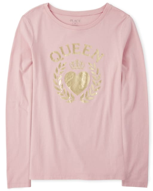 Womens Mommy And Me Long Sleeve Foil 'Queen' Heart Matching Graphic Tee