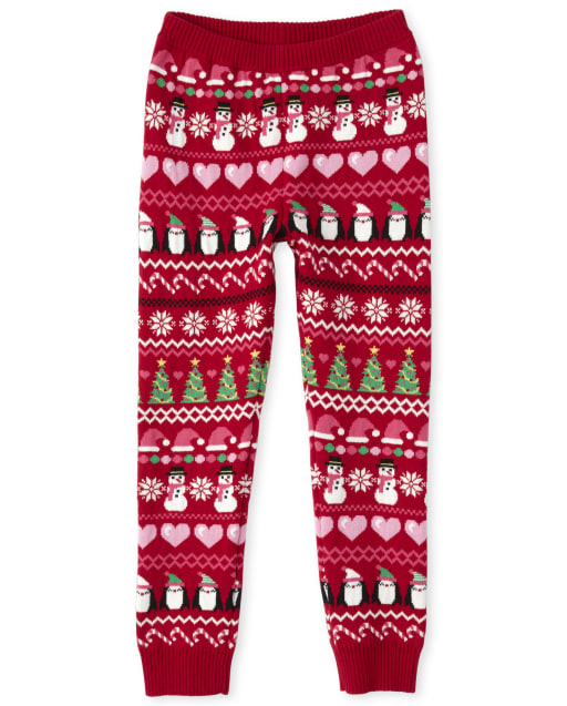 Toddler And Girls TINY COLLECTIONS Holiday Fair Isle Sweater Leggings - Penguin Party