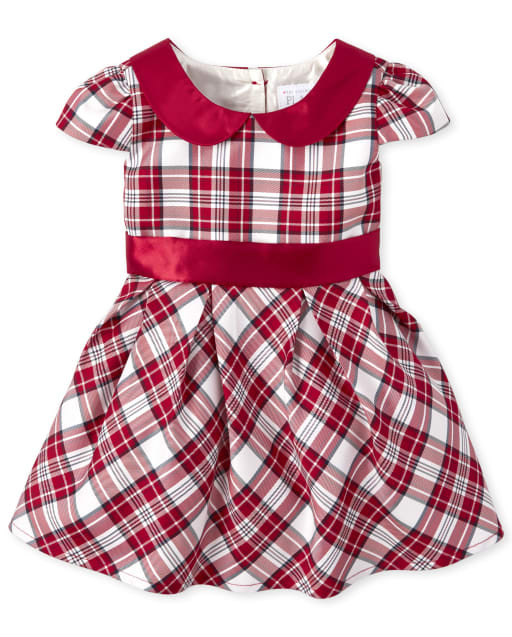 Toddler And Girls TINY COLLECTIONS Short Sleeve Plaid Woven Fit And Flare Dress - Very Merry