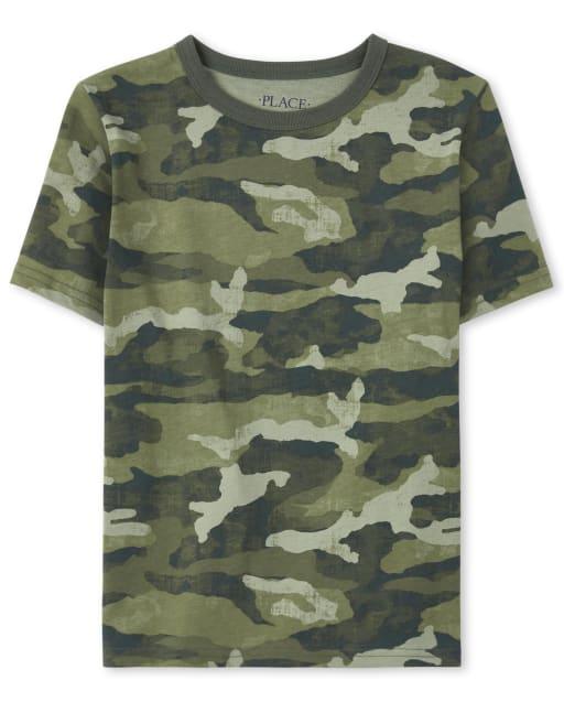 Boys Short Sleeve Camo Print Top