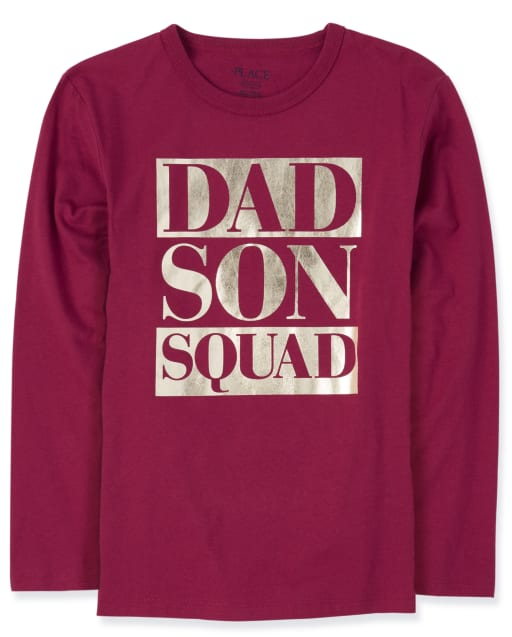 Boys Matching Family Long Sleeve Foil 'Dad Son Squad' Graphic Tee