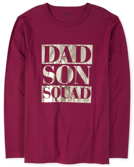 Mens Matching Family Long Sleeve Foil 'Dad Son Squad' Graphic Tee