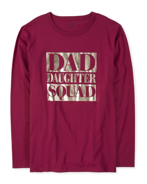 Mens Matching Family Long Sleeve Foil 'Dad Daughter Squad' Graphic Tee