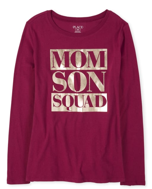 Womens Matching Family Long Sleeve Foil 'Mom Son Squad' Graphic Tee