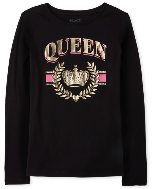 Womens Matching Family Long Sleeve Foil 'Queen' Crown Graphic Tee