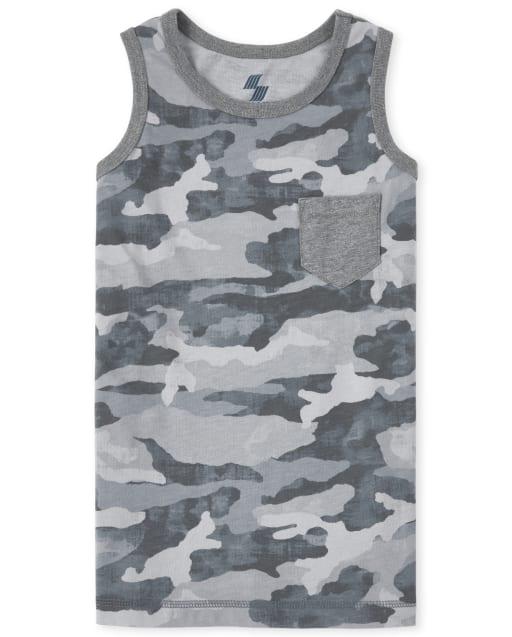 Boys Mix And Match Sleeveless Camo Print Pocket Tank Top