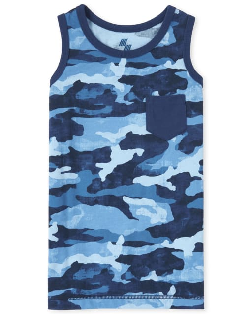 Boys Mix And Match Sleeveless Camo Print Pocket Tank Top