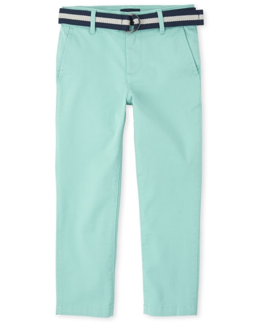 Boys Easter Belted Matching Stretch Chino Pants
