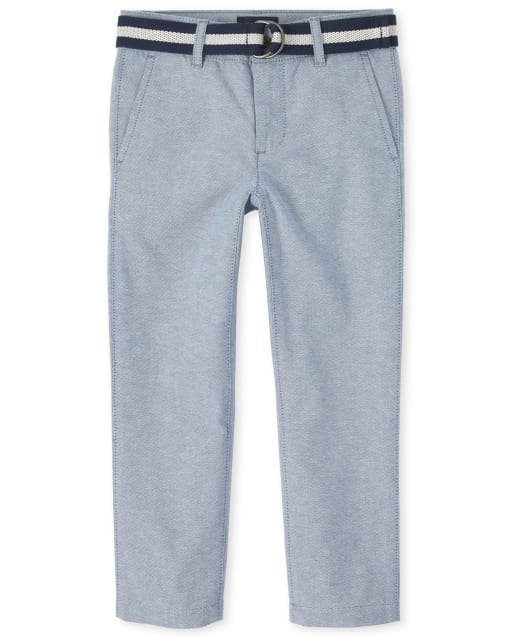 Boys Belted Woven Matching Dress Pants