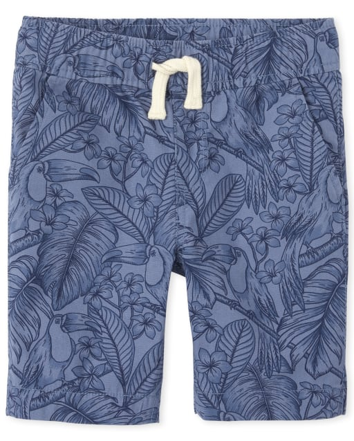 Boys Palm And Toucan Print Woven Pull On Jogger Shorts