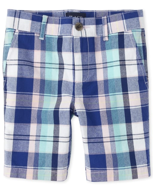 Boys Plaid Woven Matching Chino Shorts