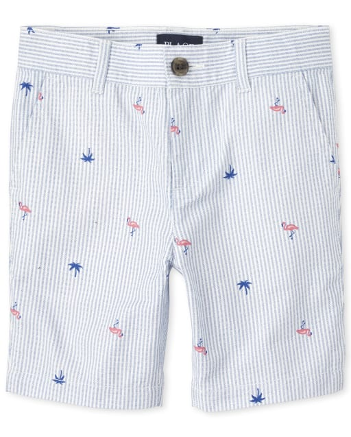 Boys Flamingo Print And Striped Oxford Woven Chino Shorts