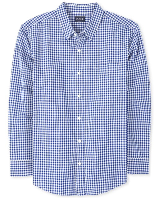 Mens Dad And Me Easter Long Sleeve Gingham Poplin Matching Button Down Shirt