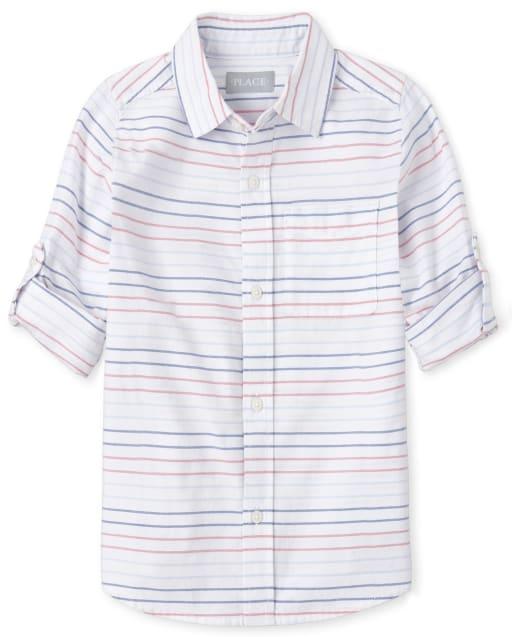 Boys Long Sleeve Striped Oxford Matching Button Down Shirt