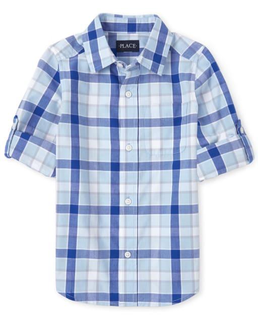 Boys Long Sleeve Plaid Poplin Button Down Shirt