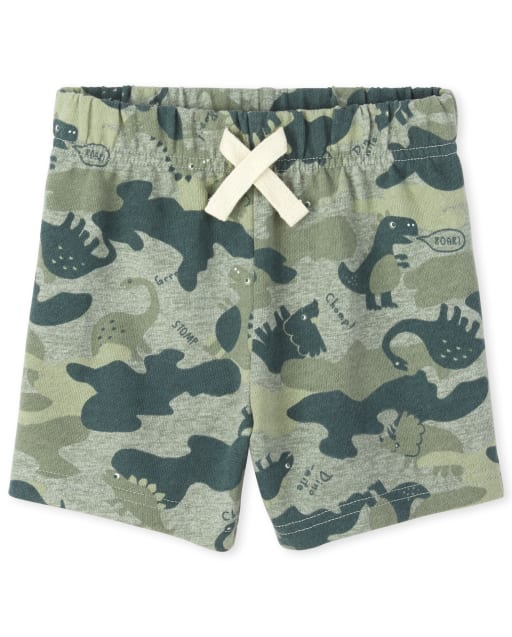 Baby And Toddler Boys Camo Dino French Terry Pull On Shorts