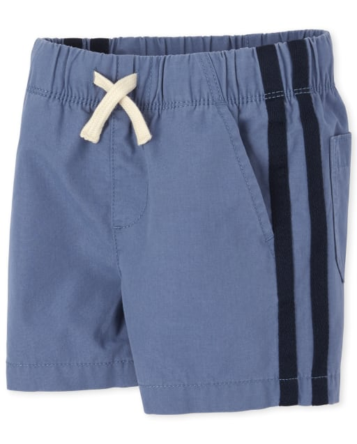 Baby And Toddler Boys Side Stripe Woven Pull On Matching Jogger Shorts