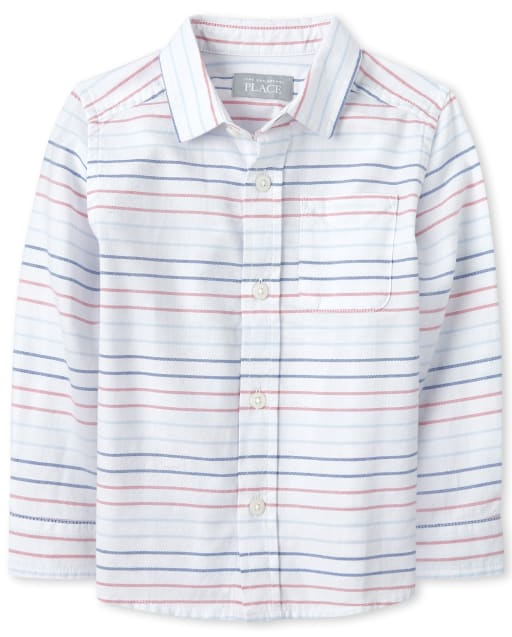 Baby And Toddler Boys Long Sleeve Striped Oxford Matching Button Down Shirt