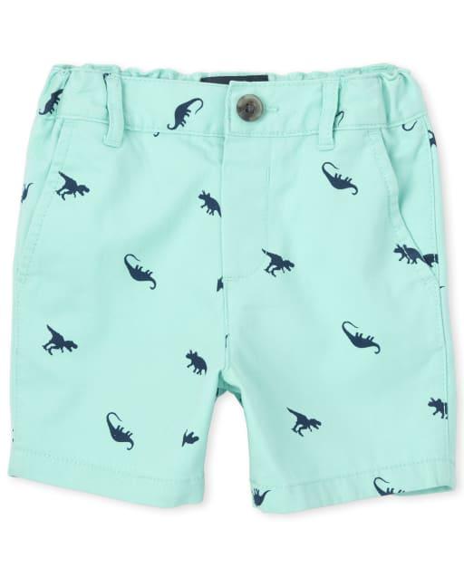 Baby And Toddler Boys Dino Print Woven Chino Shorts