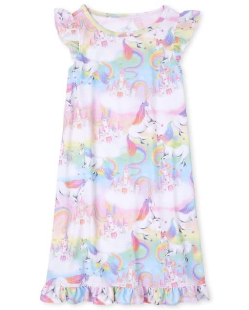 Girls Short Ruffle Sleeve Rainbow Unicorn Castle Print Nightgown