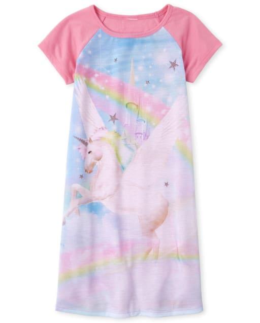 Girls Short Raglan Sleeve Rainbow Castle And Unicorn Nightgown