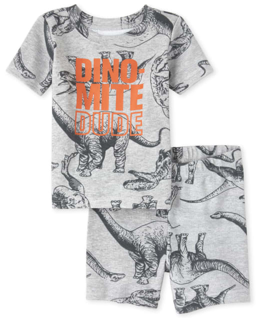 Baby And Toddler Boys Short Sleeve 'Dino Mite Dude' Dino Print Snug Fit Cotton Pajamas