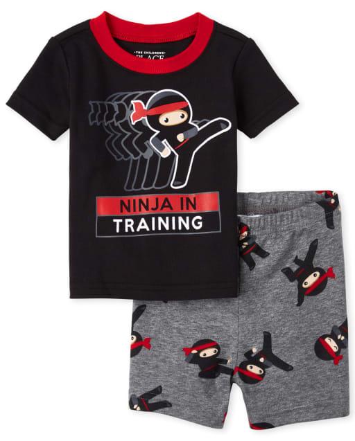 Baby And Toddler Boys Short Sleeve 'Ninja In Training' Snug Fit Cotton Pajamas