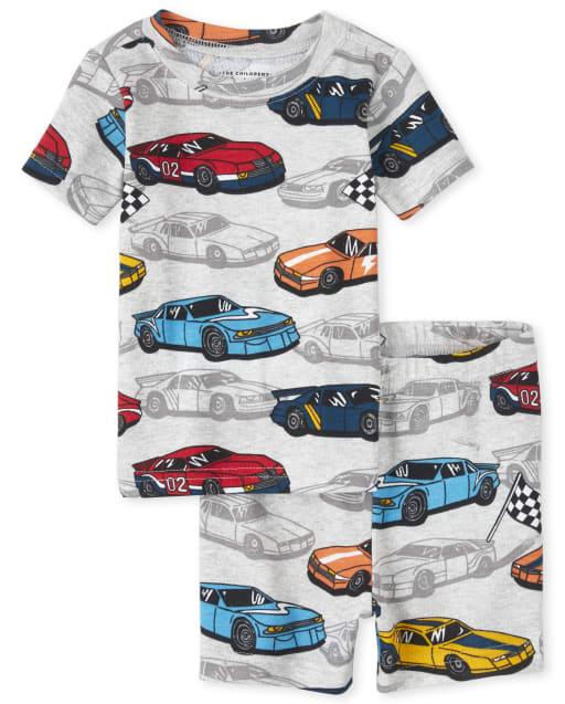 Baby And Toddler Boys Short Sleeve Racecar Print Snug Fit Cotton Pajamas
