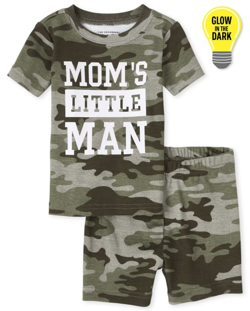 Baby And Toddler Boys Short Sleeve Glow In The Dark 'Mom's Little Man' Camo Print Snug Fit Cotton Pajamas