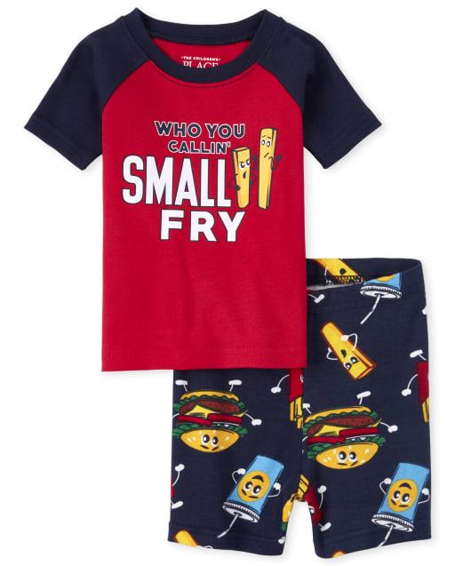 Baby And Toddler Boys Short Raglan Sleeve 'Who You Callin' Small Fry' Snug Fit Cotton Pajamas