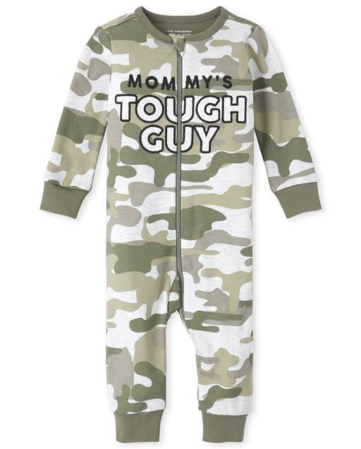 Pijamas de una pieza de algodón con estampado de camuflaje y bordado de manga larga para bebés y niños pequeños ' Mommy ' s Tough Guy '