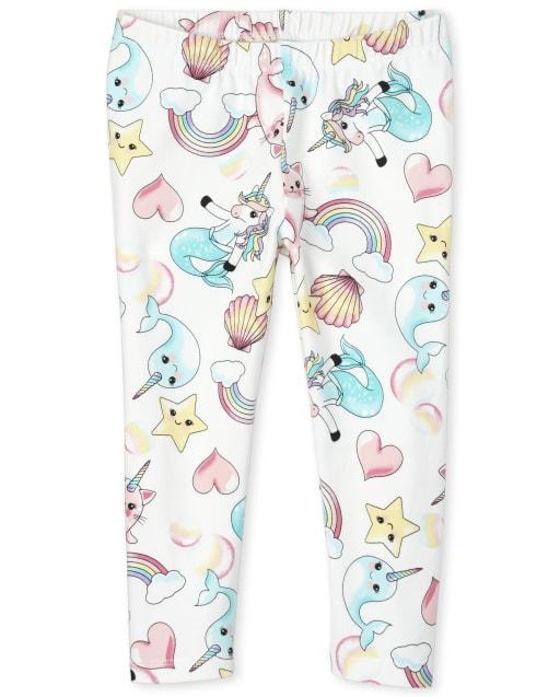 Girls Unicorn Mermaid And Narwhal Print Knit Capri Leggings