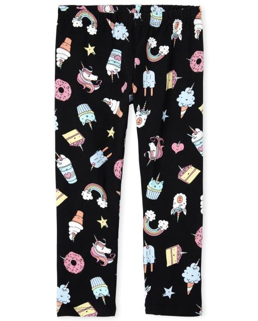 Girls Unicorn Dessert Print Knit Capri Leggings