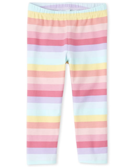 Girls Rainbow Striped Knit Capri Leggings