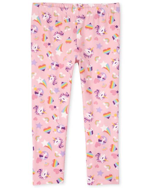Girls Rainbow Unicorn And Heart Print Knit Capri Leggings