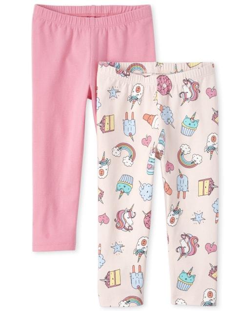 Girls Unicorn Doodle And Solid Print Knit Capri Leggings 2-Pack