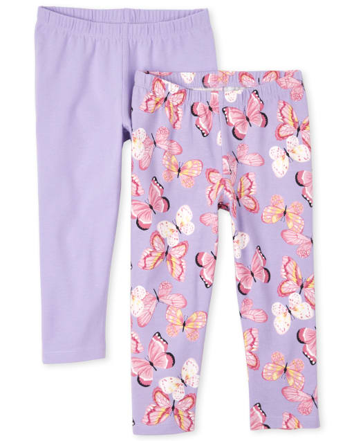 Girls Butterfly Print And Solid Knit Capri Leggings 2-Pack