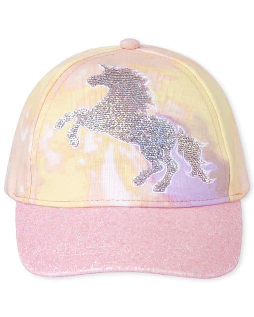 Girls Flip Sequin And Glitter Unicorn Tie Dye Baseball Hat